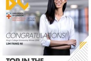 An amazing feat: Lim Fang Ni (Recipient of the Malaysian Law Scholarship to King's College, London)
